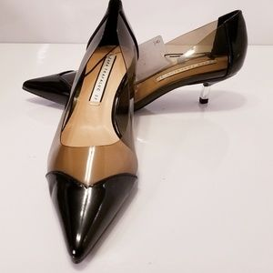 Zara Trafaluc black / smoky clear kitten heels NWT